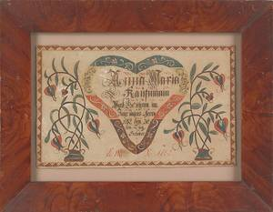 Berks County Pennsylvania ink and watercolor fraktur birth certificate