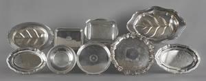 Nine silver plated trays Provenance The Estate of Virginia Whitely Thornton