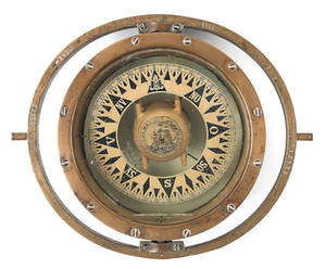 Gimbaled bronze ships compass by Iver C Weilbach  Co