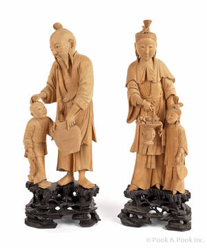 Pair of Chinese carved sandalwood figures