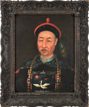 China trade oil on canvas portrait of Chinese statesman Aison Gioro Keying ca 1840