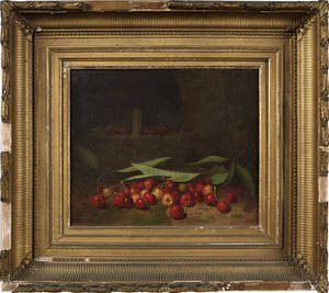 American oil on canvas still life with cherries ca 1870