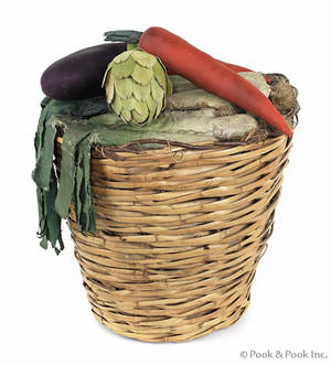 French woven basket with cloth vegetables