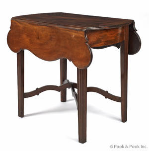 New England Chippendale mahogany Pembroke table ca 1790