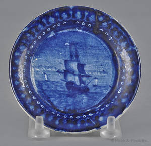 Historical blue Staffordshire Cadmus cup plate 19th c