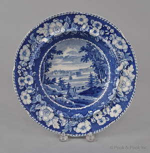 Historical blue Staffordshire View of Governors Island New York shallow soup bowl 19th c