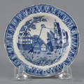 Historical blue Staffordshire Franklin with Kite plate 19th c