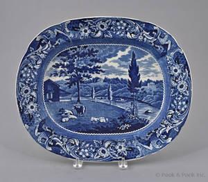 Historical blue Staffordshire Mendenhall Ferry platter 19th c