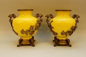 Pair of E 20th C French Porcelain Urns