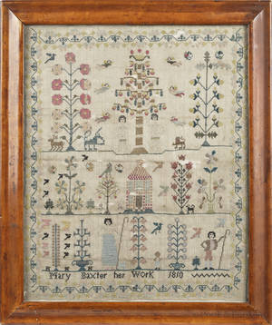 English silk on linen sampler wrought by