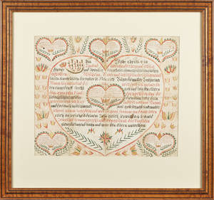 Pennsylvania watercolor and ink on paper fraktur birth record dated