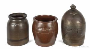 Clinton County Pennsylvania stoneware jug 19th c