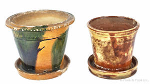 Two Pennsylvania redware flowerpots 19th c