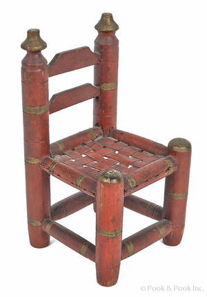 Miniature painted ladderback chair 19th c