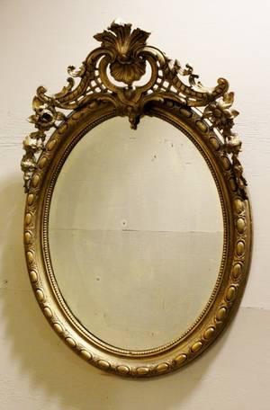 Large 19th C Oval Gilt Mirror