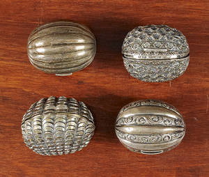 Four Birmingham silver nutmeg graters 19th c