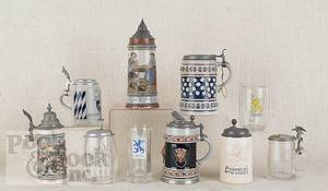Collection of ten German steins and mugs