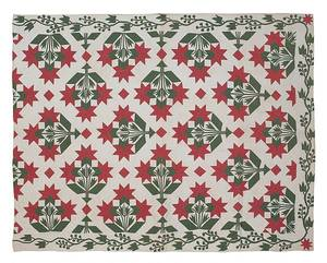 Pennsylvania red and green pieced and appliqu Carolina lily pattern quilt ca 1900