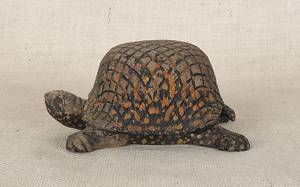 Folk art carved and painted tortoise early 20th c