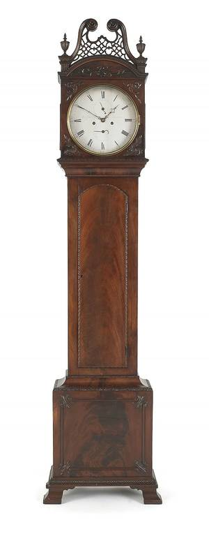George III mahogany tall case clock mid 18th c