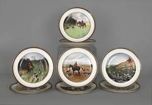 Set twelve Copeland plates with decoration by Lionel Edwards