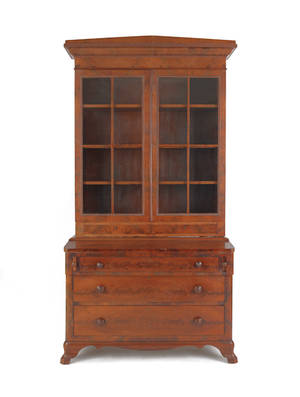 Empire mahogany secretary bookcase