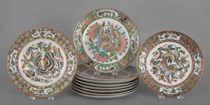 Set of eight Chinese famille rose butterfly plates