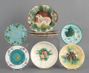 Eight majolica dishes