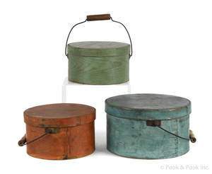 Three New England painted bentwood pantry boxes