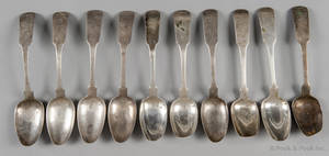 Set of eight New York coin silver serving spoons early 19th c