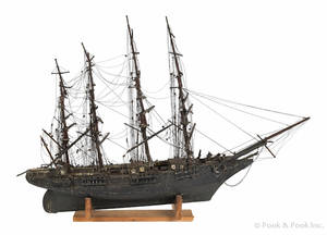 American carved and painted ship model mid 19th c