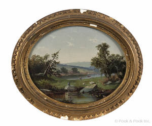 Pair of oil on board Massachusetts landscapes mid 19th c