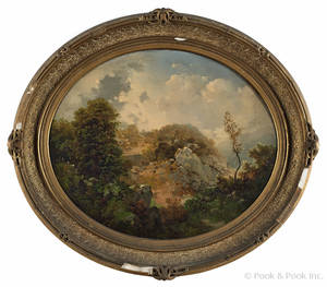 Attributed to Henry Boese American 18241863 Hudson River oil on canvas landscape mid 19th c