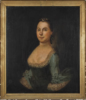 American oil on canvas portrait of a woman 18th c