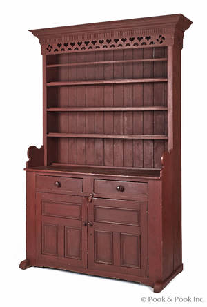 Canadian painted pine stepback cupboard early 19th c