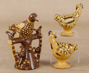 Three English redware bird whistles