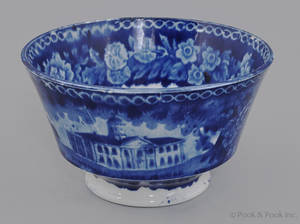 Historical blue Staffordshire Baltimore Court House waste bowl 19th c