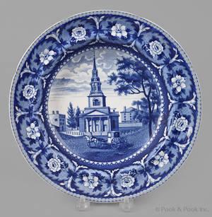 Historical blue Staffordshire Octagon Church Boston soup bowl 19th c