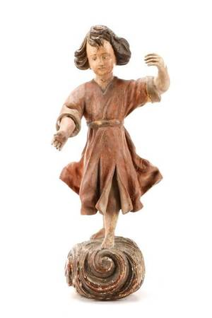 18th C Carved Wood Sculpture of a Dancing Girl