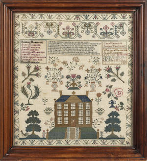 English or American silk on linen sampler