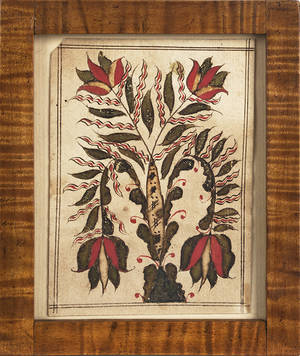 Small Pennsylvania watercolor on paper fraktur bookplate 19th c