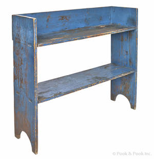 Painted pine bucket bench 19th c