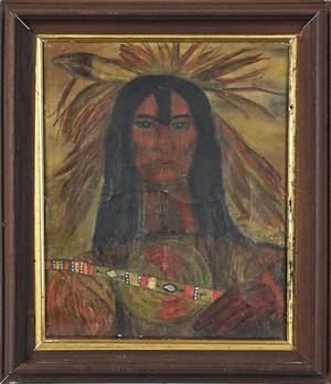 Two oil on canvas portraits of Native Americans