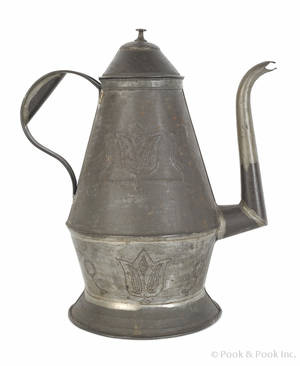 Pennsylvania tin wrigglework coffeepot 19th c