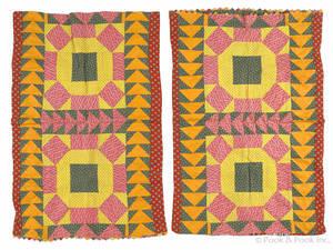 Pair of Pennsylvania pieced pillow shams 19th c