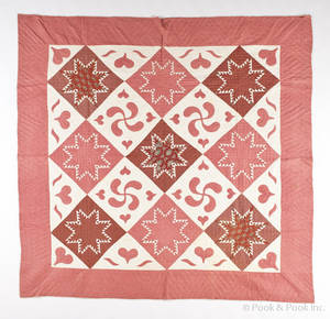 Pennsylvania pieced and appliqu quilt late 19th c