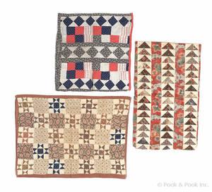 Three Pennsylvania pieced pillow shams 19th c