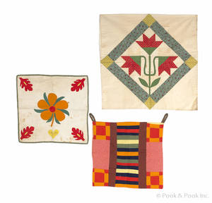 Three Pennsylvania pieced and appliqu privy bags
