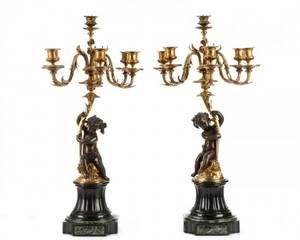 Pair Six Arm Gilt Bronze Bacchanalian Candelabrum