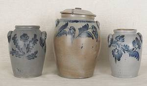 Three Pennsylvania stoneware crocks 19th c
